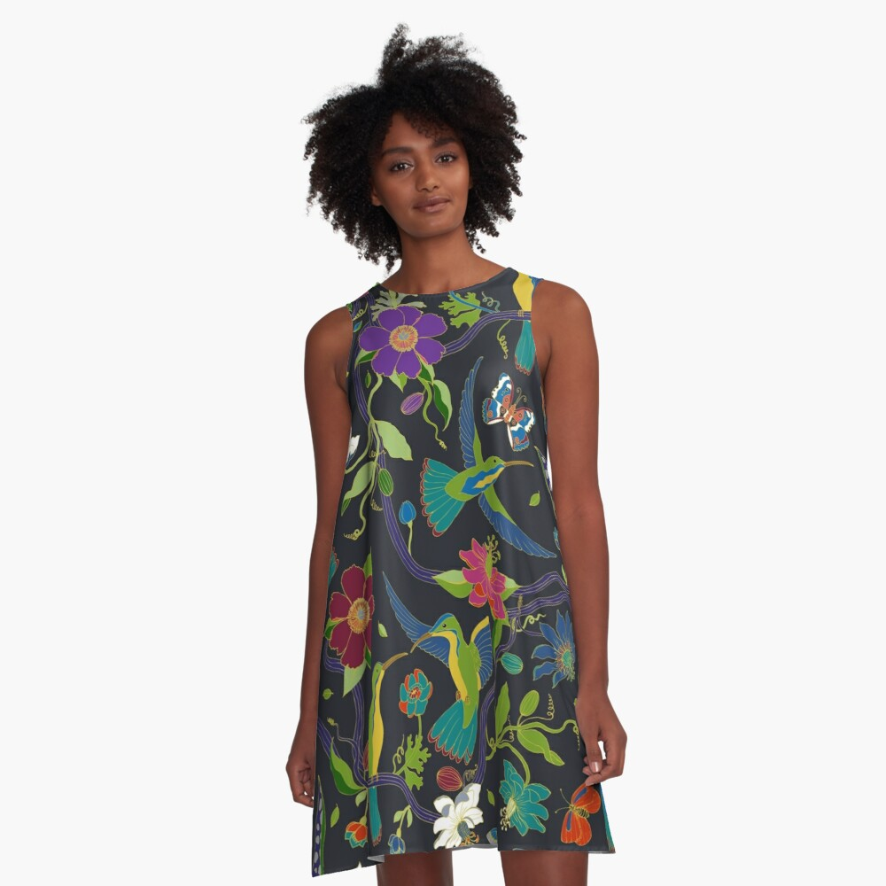Hummingbirds and Passionflowers - Cloisonne on Black - pretty floral bird pattern by Cecca Designs A-Line Dress Front