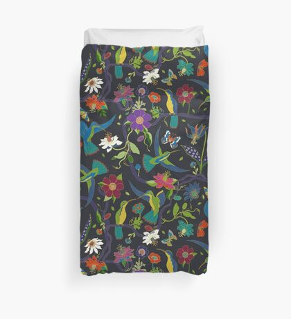 Hummingbirds and Passionflowers - Cloisonne on Black - pretty floral bird pattern by Cecca Designs Duvet Cover