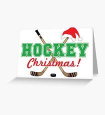 Hockey Christmas Hockey Sticks Greeting Card