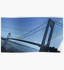 Verrazano Bridge Blue Poster