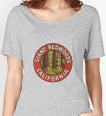Giant Redwoods Of California Vintage Retro Travel Decal Women's Relaxed Fit T-Shirt