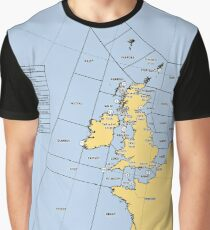 UK Shipping Forecast Map Graphic T-Shirt