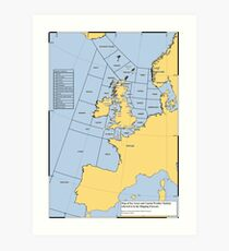 UK Shipping Forecast Map Art Print