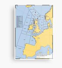 UK Shipping Forecast Map Metal Print