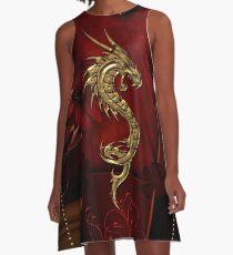 Wundervoller goldener chinesischer Drache A-Linien Kleid