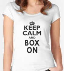 Boxing Sport Gift-Keep Calm and Play Boxing - Funny Present Women's Fitted Scoop T-Shirt