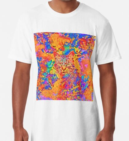 A colorful dramatic Cat is sitting on a colorful quilt Long T-Shirt