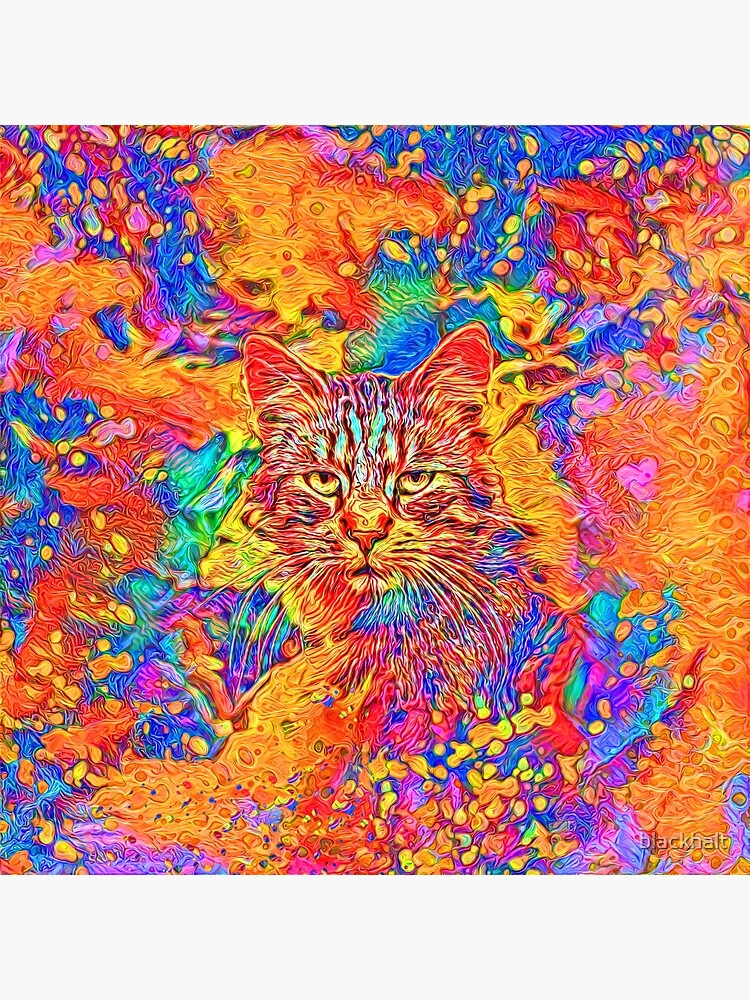 A colorful dramatic Cat is sitting on a colorful quilt by blackhalt