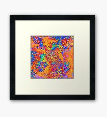 A colorful dramatic Cat is sitting on a colorful quilt Framed Print
