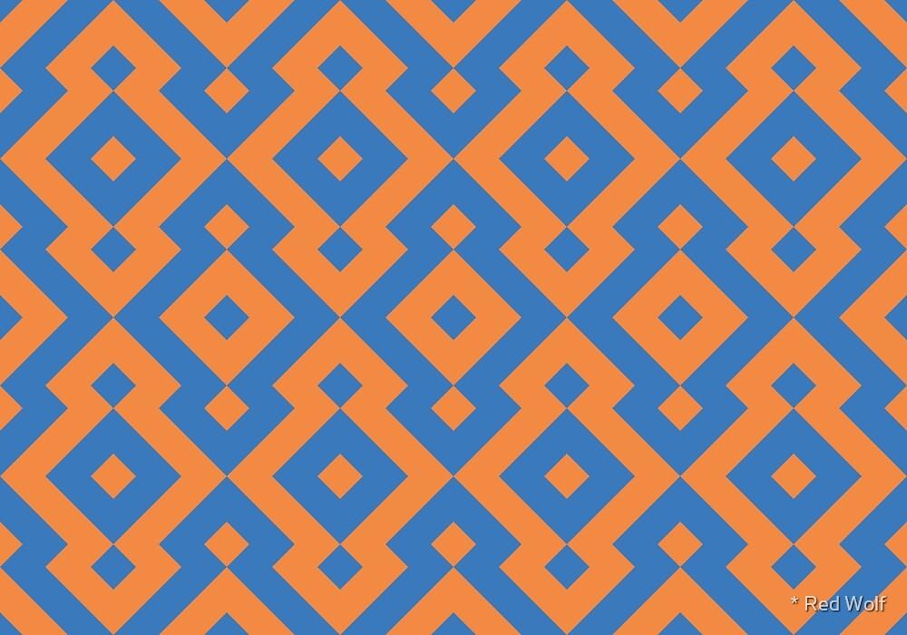 Geometric Pattern: Diamond: Orange/Blue by * Red Wolf