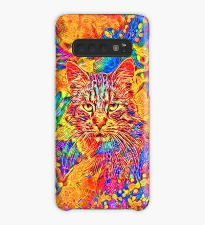 A colorful dramatic Cat is sitting on a colorful quilt Case/Skin for Samsung Galaxy