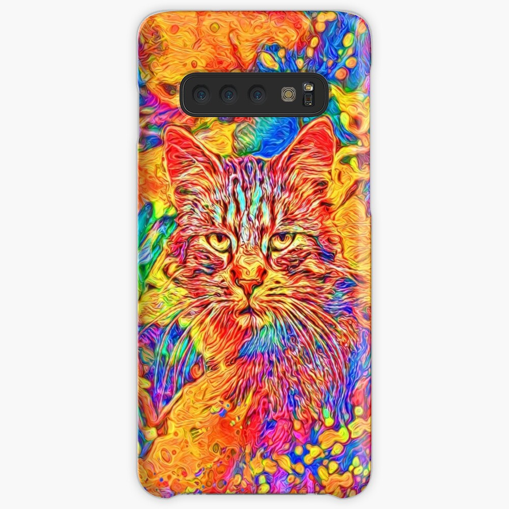 A colorful dramatic Cat is sitting on a colorful quilt Case & Skin for Samsung Galaxy