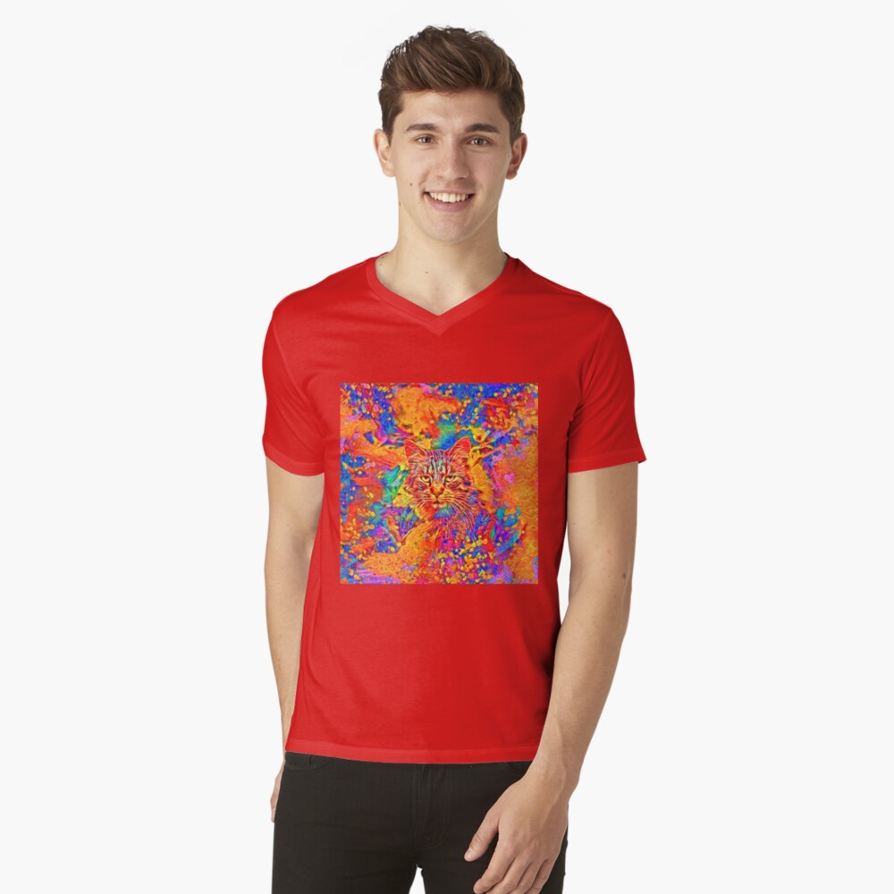 A colorful dramatic Cat is sitting on a colorful quilt V-Neck T-Shirt