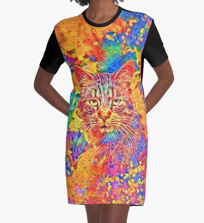A colorful dramatic Cat is sitting on a colorful quilt Graphic T-Shirt Dress