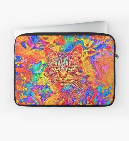 A colorful dramatic Cat is sitting on a colorful quilt Laptop Sleeve