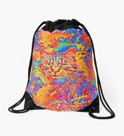 A colorful dramatic Cat is sitting on a colorful quilt Drawstring Bag