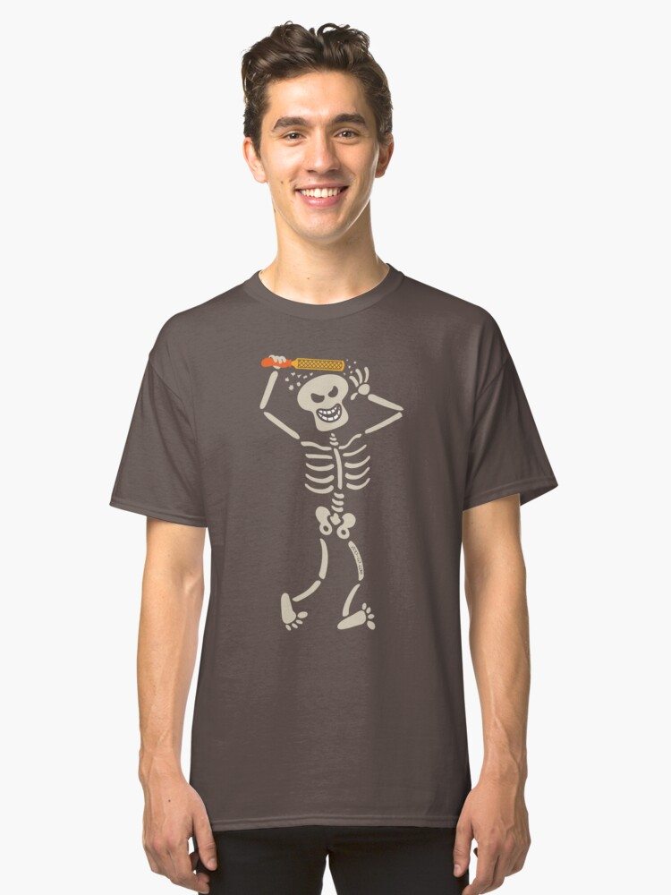 Halloween skeleton rasping its own skull Classic T-Shirt Front