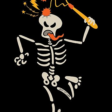 Skeleton breaking its own skull with double ball and chain flail by Zoo-co