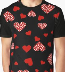 Valentines red hearts black Graphic T-Shirt