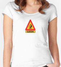 Geek Warning Women's Fitted Scoop T-Shirt