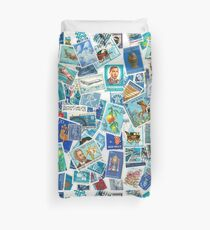 From all over the world - postage stamps blue Duvet Cover