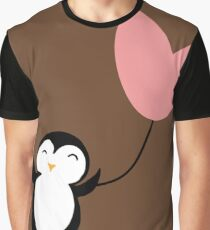 Penguin in Love brown Graphic T-Shirt