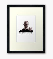 Spike, out for a walk - dark font Framed Print