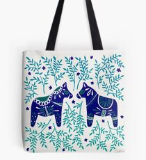Swedish Dala Horses – Navy & Blue Palette Tote Bag