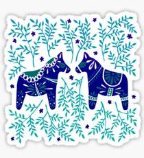 Swedish Dala Horses – Navy & Blue Palette Sticker