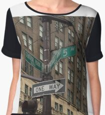 New York Street Sign Women's Chiffon Top