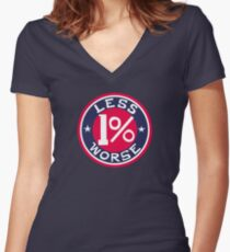 1% Less Worse Women's Fitted V-Neck T-Shirt