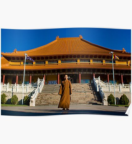 Nan Tien Buddhist Temple - Ven. Ru Yi in front of stairs leading up to main shrine Poster