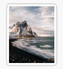 Stokksnes Icelandic Mountain Beach Sunset - Landscape Photography Sticker