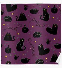 Black Cats Pattern Purple Poster