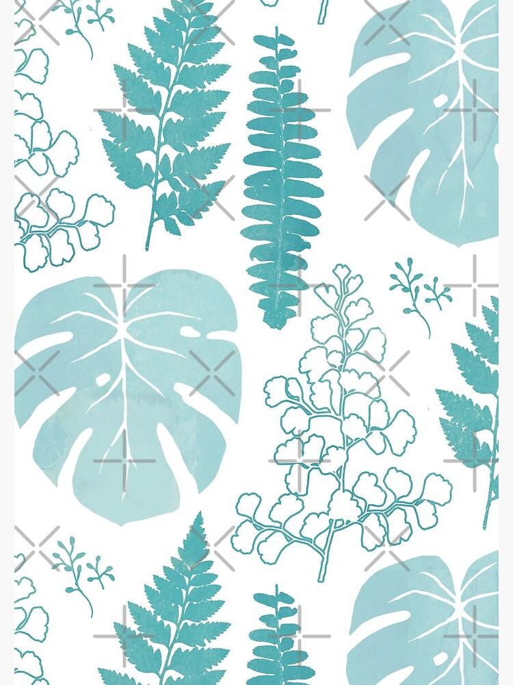 Turquoise tropical leaves on white by adenaJ