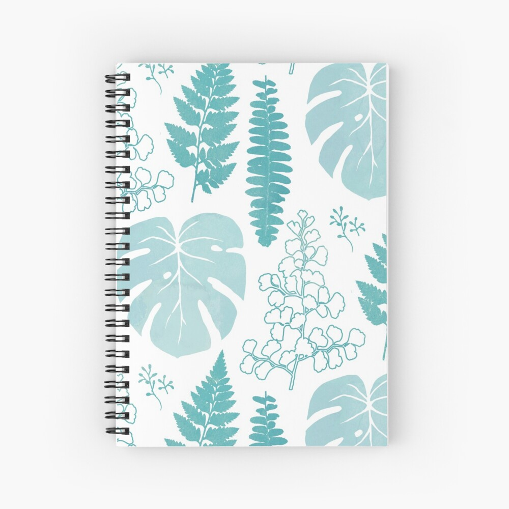 Turquoise tropical leaves on white Spiral Notebook