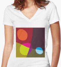 Abstract 'Tumbling Down No1' Women's Fitted V-Neck T-Shirt