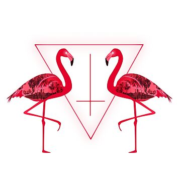 Synthwave retro flamingo with palmtrees by Cybercitypunk