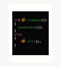 Coffee code - programming Art Print