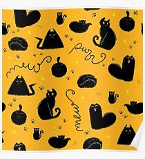 Black Cats Pattern Orange Halloween Poster