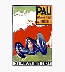 PAU : Vintage 1937 Grand Prix Auto Racing Print Photographic Print