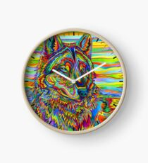 Colorful Psychedelic Rainbow Wolf Clock