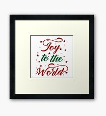 Red and Green Joy to The World typography Framed Print