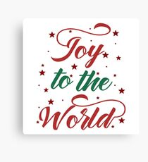 Red and Green Joy to The World typography Canvas Print