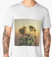 Sunflowers in Rain at Sunset Men's Premium T-Shirt