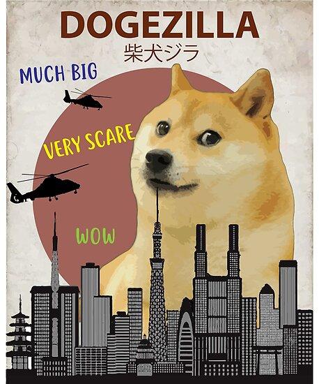 Poster « Dogezilla - Funny Doge Meme géant Shiba Inu », par ...