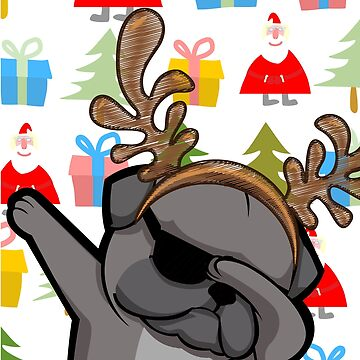 Funny Black Dabbing Pug In Christmas Theme Holiday T-shirt by d180