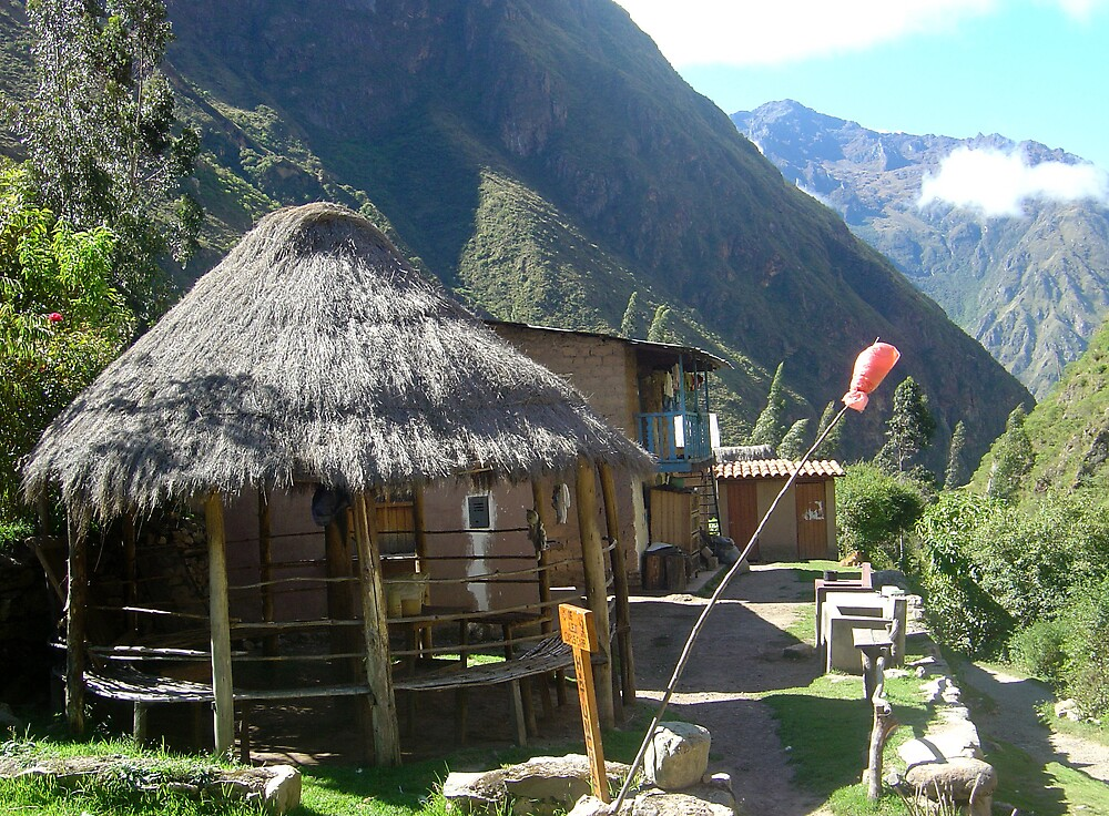 Traditional hut selling Chicha on Inca Trail, Peru by mojgan