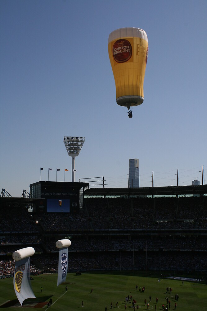 Carlton Draught balloon over the MCG, Melbourne by Leigh Penfold