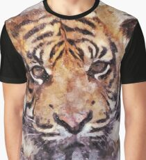 Watercolor Design Tiger Graphic T-Shirt